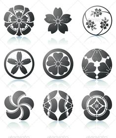 Buy Floral elements by PixelEmbargo on GraphicRiver. Vector illustration set of abstract Sakura graphic elements in japanese style Japanese Patterns, Japanese Design, Japanese Style, Japanese Art, Japanese Sleeve, Japanese Blades, Traditional Japanese, Tinta Tattoo, Japanese Family Crest