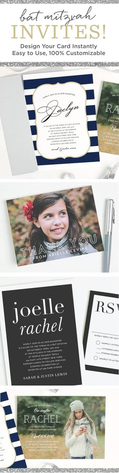 Instantly design personal and quality Bat Mitzvah invitations online with real-time previews of every change. Choose from our wide selection of themes, colors and fonts to show off your daughter's individual style and personality.