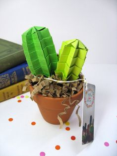 Origami Paper Lime Green Twinny Cactus Succulent -Home Decor Office Decor House Warming Gift Anniversary Gift Gift For Friends Coworkers Christmas Gifts For Boyfriend, Valentines Gifts For Him, Paper Cactus, Moving Away Gifts, Presents For Boys, 1st Anniversary Gifts, Green Cactus, Secret Santa Gifts, Origami Paper
