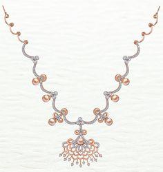 Azva modern rose gold diamond necklace  #Goldjewellery #luxury #style