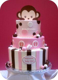 Torta de baby shower de Mono para niñas.
