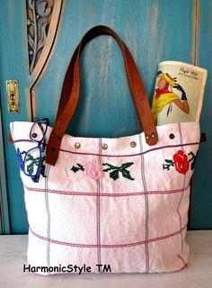 6-V.upcycled hand embroidered bag/linen bag/upcycled antique embroidery/linen shoulder bag/hand embroidery bag/reused embroidery/handbag