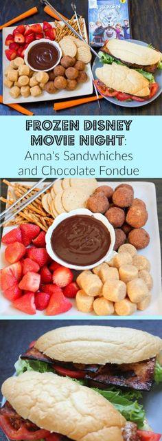 Frozen Disney Movie Night: Anna's Sandwiches (maple balsamic tofu blt's) and Chocolate Fondue