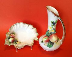 Gilded Pink Pitcher And Bowl Set - 1956 Geo Z Lefton - Figural Fruit And Flowers China Dinnerware, Hurricane Glass, Midcentury Modern, Bowl Set, Geo, Art Decor, Hand Painted, Japan, Fruit