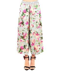ANTONIO MARRAS Multicolour trousers floral print high waist wide legs drawstring waist ankle length 50% PL 44% VI