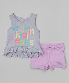 Look what I found on #zulily! Gray Logo Tank & Purple Shorts - Infant, Toddler & Girls #zulilyfinds