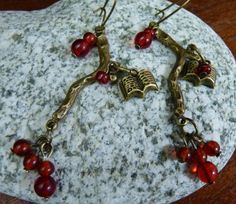 Winter Berries Bronze Earrings with Book Charms
