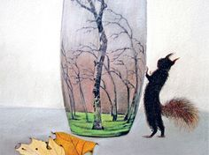 blank card   squirrel  vase  woodland motif  by KatkasArtStudio