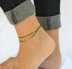 Anchor anklet green dainty anklet with a gold anchor charm and beads green ankle bracelet gift for her nautical summer beach jewelry * Be sure to check out this awesome product.Note:It is affiliate link to Amazon.