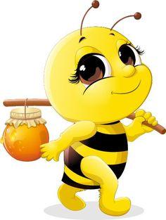 Cute bee with honey Jar vector 02 Cartoon Bee, Cartoon Pics, Cute Cartoon, Cartoon Characters, Honey Bee Cartoon, Happy Cartoon, Bee Pictures, Art Mignon, Cute Bee