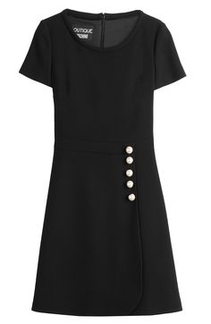 BOUTIQUE MOSCHINO - Virgin Wool Dress with Faux Pearls | STYLEBOP.com