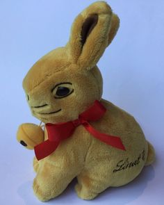 Lindt Gold Plush Easter Bunny Rabbit Red Ribbon + Pouch for Chocolate Coin Egg in Collectables, Advertising, Confectionary   eBay!
