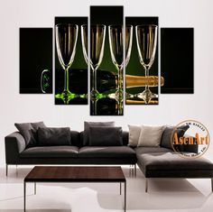 5 Pieces Unframed Wall Art Canvas Prints Wine Glass Canvas Painting Still Life Wall Painting for Bar Home Decoration  #prints #printable #painting #canvas #empireprints #teepeat