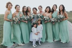 Mint and Peach bridesmaids and flower girls Flowers by Apple Blossom Florist Photo credits to Katrina Nicole Photography