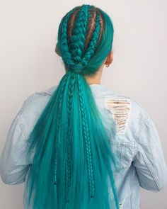 Amazing teal braided look by - try our Neptune Pack for a similar style! Teal Hair Dye, Dark Teal Hair, Turquoise Hair, Dyed Hair, Braided Hairstyles, Cool Hairstyles, Gorgeous Hair Color, Hair Colour, Hair Inspo