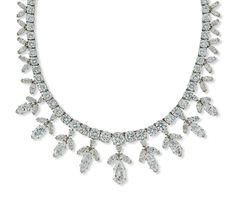 AN ELEGANT DIAMOND NECKLACE.   The necklace designed as a fringe of marquise and brilliant-cut diamonds of floral motif, centring upon a similarly set pear-shaped diamond drop weighing 2.36 carats, to the line of graduated brilliant-cut diamonds, joined by a similarly set clasp suspending a brilliant and marquise-cut diamond, 38cm long