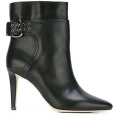 Black leather 'Major 85' boots from Jimmy Choo featuring a pointed toe, a side buckle fastening, an ankle length, a mid high stiletto heel and a leather sole. …