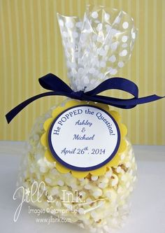 Lovely personalized popcorn bridal shower favors. Match to your wedding colors!