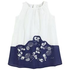 White and Navy Dress | Jean Bourget | Designer Kids Clothes