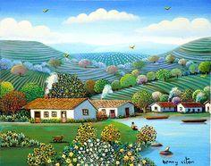 """naive art"" by Henry Vitor Cottage Art, Arte Popular, Paintings I Love, Naive Art, Landscape Art, New Art, Painting & Drawing, Amazing Art, Folk Art"
