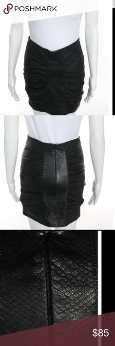 8c69a80f515 Catherine Malandrino leather skirt Sz 8 black Black embossed gathered  leather skirt Catherine Malandrino Skirts Mini