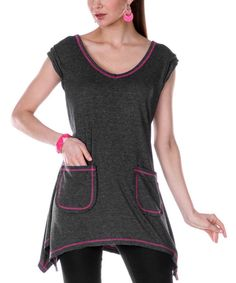 Take a look at the Aster Gray & Pink Pocket Sidetail Dress on #zulily today!
