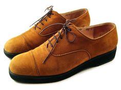 Salvatore Ferragamo Authentic Vintage Tan Leather Platform Oxfords Suede Womens size 8.5