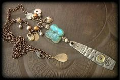Ancient Roman Glass, Lotus, Silver Shield, Kuchi Charm, African Beads, Silver Chain Necklace by YuccaBloom on Etsy