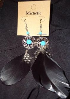 BLACK FEATHER FASHION EARRINGS WITH BLUE BEADS