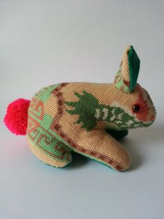 Vintage needlepoint rabbit soft toy from Made by swimmer