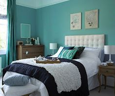 turquoise bedroom *This one is my favorite. White bedding and decor with some navy and grey to ground it all and add some masculinity.