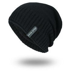 518bb39ef2205 Pinstripe Knitted Velvet Lining Beanie. Mens Cowboy HatsMens ...