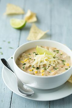 White Chicken Chili - Cooking Classy ***Use fat free cream cheese/shredded cheese to keep it Simply Filling.