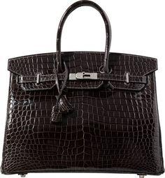 Hermes 35cm Shiny Graphite Porosus Crocodile Birkin Bag with Palladium  Hardware 2014 Crocodile 0f96ab4f3da82