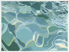 """aqua teal turquoise blue grean sea ocean marine. Julia Jacquette, """"Swimming Pool Water (Hand)"""" (2015), gouache on paper, 9 1/2 x 12 1/2 inches, collection of the artist, New York (© 2016 Julia Jacquette. Image courtesy of the artist. Photograph by John Bentham). 'Julia Jacquette: Unrequited and Acts of Play' Opening at the Wellin Museum of Art 