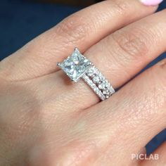 Thin Princess Cut Diamond Engagement Ring with two diamond stackable bands. Custom Design. Dream ring set