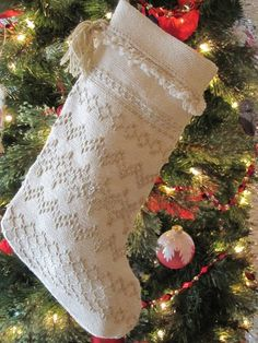 Monk's cloth Swedish Weave Christmas stocking. The stocking is the perfect size to hold a box of Christmas candy. Add some tissue, and it's ready to go! Sandra's Stitches