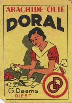 Arachide olie Doral - Vintage matchbox label