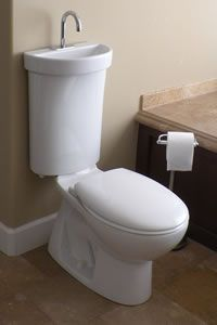 I love the idea of this sink toilet combination for a small secondary bathroom.  Also, the water used in the sink drains into the tank to be flushed!