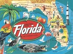 vintage florida map postcards welcome to motel your key scarf Florida Road Map, Florida Tourism, Sarasota Florida, Florida Vacation, Florida Travel, Florida Beaches, Vintage Travel Posters, Vintage Postcards, Indian Shores