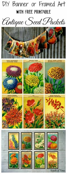 Printable Vintage Seed Packet Projects via knickoftime.net