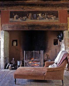 Fireplace. - love this quaint setting!