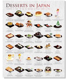 """Fanny is raising funds for Desserts in Japan on Kickstarter! Inspired by """"Kantaro: The Sweet Tooth Salaryman,"""" this illustrated graphic Introduces 36 Traditional and Popular Desserts in Japan! Japanese Dishes, Japanese Sweets, Japanese Meals, Japanese Drinks, Japanese Snacks, Japanese Recipes, Desserts Japonais, Cute Food, Yummy Food"""