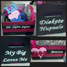 Little's pink and black crate. Phi sig Litp