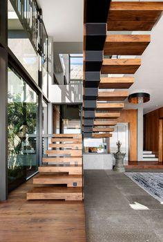 A Home on a Mountain in South Africa Intended for Entertainment Beautiful Interior Design, Beautiful Interiors, Modern Interior Design, Steel Building Homes, Building A New Home, Built In Lockers, Contemporary Stairs, Village House Design, New Home Construction
