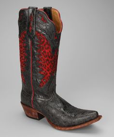 Take a look at this Barn Black & Red Leather T-Toe Distressed Western Boot - Women by Johnny Ringo Boots on #zulily today!