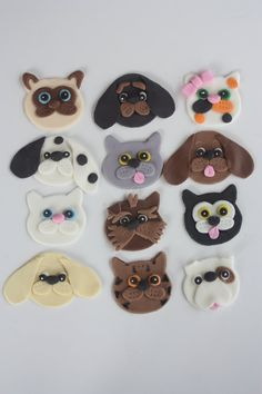 12 Fondant cupcake topperscats and dogs by PastelFiesta on Etsy, $19.00