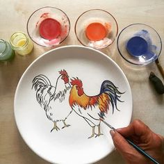 Porcelain Of China Info: 5642888281 Ceramic Spoons, Glass Ceramic, Ceramic Plates, Ceramic Art, Decorative Plates, Blue Pottery, Pottery Plates, Ceramic Pottery, Chicken Painting
