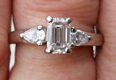 Certified  Emerald cut Diamond and pear cut diamonds by gems4borth #vogueteam #etsygifts #vintagefinejewelry