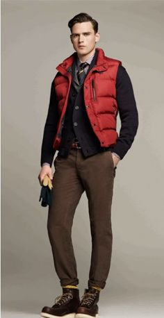 Shop menswear from Hackett London online. Shop men's shirts, suits, blazers and casualwear, all orders include fast shipping to hundreds of destinations. Puffy Vest Outfit, Vest Outfits, Fashion Outfits, Red Puffer Vest, Red Vest, Mens Down Vest, Dapper Gentleman, Lakme Fashion Week, Well Dressed Men